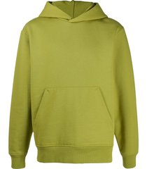 acne studios ribbed-edge classic-fit hoodie - green
