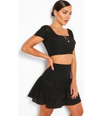 broderie anglaise gypsy top & skirt co-ord, black