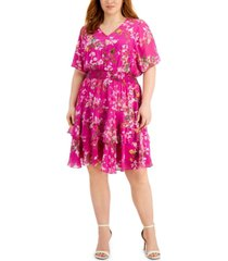 taylor plus size floral-print blouson dress