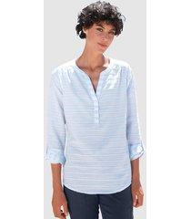 blus dress in ljusblå::vit