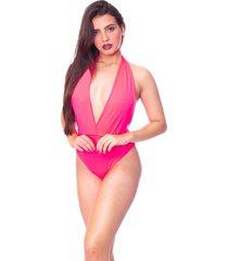 body moda vício frente única com decote rosa neon - kanui
