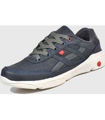 tenis masculino p/ academia e caminhada marinho r1380 + 3 meias - azul marinho - masculino - sintã©tico - dafiti