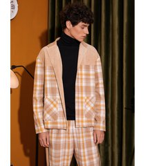 chaqueta de bolsillo de retazos a cuadros para hombre
