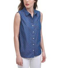 tommy hilfiger cotton kip clip printed sleeveless shirt