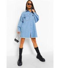 spijkerblouse jurk met gerafelde zoom en zakken, indigo