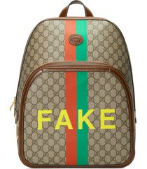 men's gucci fake/not gg supreme canvas backpack - brown