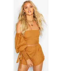 linen shirred puff sleeve top & shorts co-ord, tan