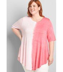 lane bryant women's perfect sleeve max swing tunic tee 10/12 seashell pink