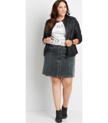 maurices plus size womens gray high rise corduroy button front skirt