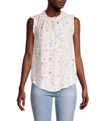 nanette nanette lepore women's printed sleeveless ruffle top - white pink multicolor - size xs
