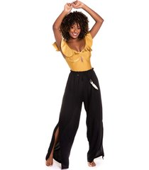 calça pantalona kalini beachwear com fenda rayon black