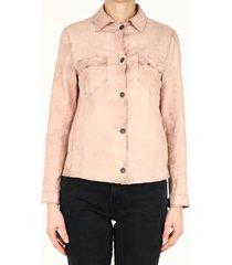 salvatore santoro powder pink leather shirt