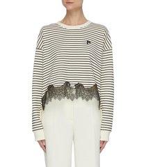 logo embroidered lace hem stripe cotton sweatshirt