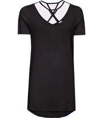 maglia con fondo asimmetrico e fettucce (nero) - bodyflirt