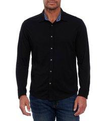 men's robert graham luke knit button-up shirt, size x-large - black