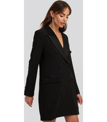 na-kd classic satin detail blazer dress - black