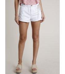 short de sarja feminino boy cintura média com cadarço branco