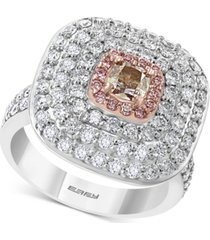 effy diamond multi-halo statement ring (2-1/4 ct. t.w.) in 18k white & rose gold