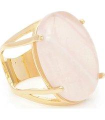 anel banhado a ouro oval quartzo