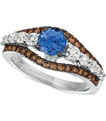 le vian cornflower ceylon sapphire (7/8 ct. t.w.) & diamond (7/8 ct. t.w.) ring in 14k white gold
