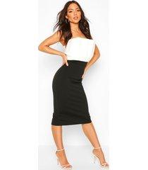 colour block pleated top bandeau midi dress, black