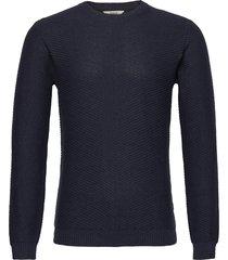 6192621, knit - alexian o-neck stickad tröja m. rund krage blå solid