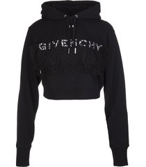 givenchy woman black crop hoodie with lace
