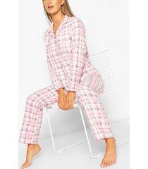 flanellen geruite pyjamabroekset, roze