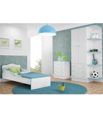 jogo de quarto infantil doce sonho com mini cama branco com azul - qmovi