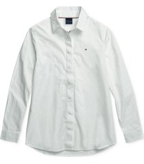tommy hilfiger adaptive women's olivia oxford shirt with magnetic closures