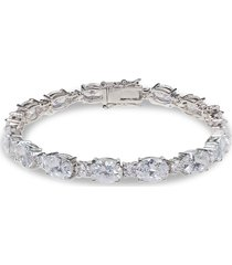 cz by kenneth jay lane women's look of real rhodium-plated & crystal channel bracelet