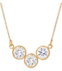 cubic zirconia trio collar necklace in 14k gold