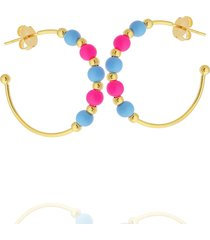 brinco dona diva semi joias argola miçanga rosa azul