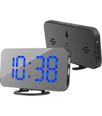 doble puerto usb espejo pantalla led digital reloj de alarma banco de