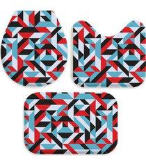 kit 3 tapetes decorativos para banheiro wevans abstrato multicolorido
