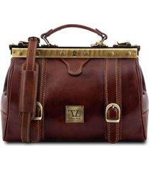 tuscany leather tl10034 monalisa - borsa medico in pelle con fibbie frontali marrone