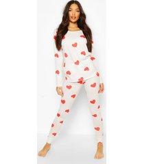 hartjes pyjama broek met elastische zoom, crème