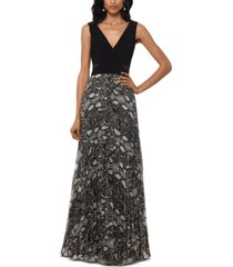 xscape petite snake-print gown
