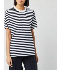 victoria, victoria beckham women's striped logo tape t-shirt - midnight blue/ ivory - m