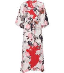 vintage drape wrap dress knälång klänning rosa by ti mo