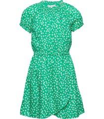 ditsy flower wrap dress s/s jurk groen tommy hilfiger