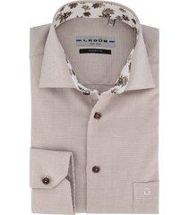 ledub overhemd beige patroon modern fit