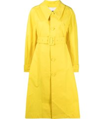 jil sander belted a-line trench coat - yellow