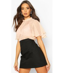 dobby mesh frill top, nude