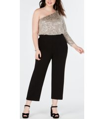 adrianna papell plus size one-shoulder jumpsuit