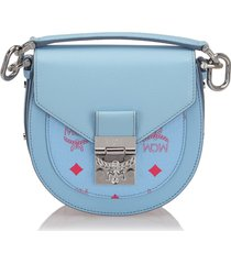 mcm mini visetos patricia crossbody bag blue, light blue, red sz: m
