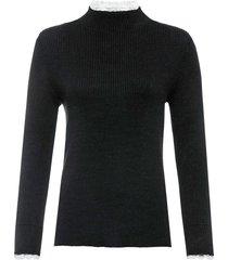 maglione a costine con pizzo (nero) - bodyflirt boutique