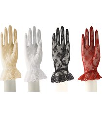lace gloves w/ wrist ruffle in white, red, ivory, & black- retro, party, wedding