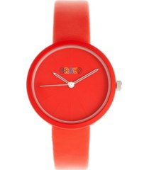 crayo unisex blade red leatherette strap watch 37mm