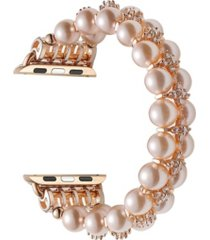 unisex rose gold tone skinny faux pearl replacement band for apple watch, 42mm